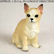 Chihuahua Mini Resin Hand Painted Dog Figurine Statue Hand Painted White/Ta