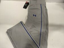 Under Armour Men's Clean Up Piped Baseball Pants, Gray/Royal Blue, Small