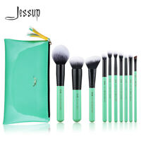 Jessup Makeup Brushes Set 10Pcs Foundation Blush Eyeshadow Tool or Cosmetic Bag