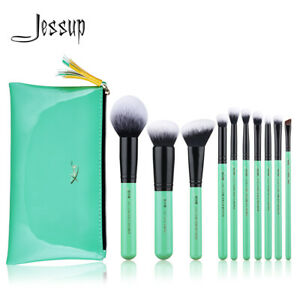 Jessup Makeup Brushes Set 10Pcs Powder Foundation Blush Eyeshadow & Cosmetic Bag