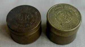 2 VINTAGE BRASS PAPER FASHENERS TIN WASHBURNE 2B PAT1903, MCGILL'S PAT 1889