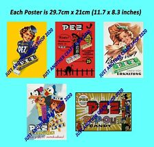 More details for pez candy dispenser set of 5 vintage posters incl disney halloween 1940 to 1960