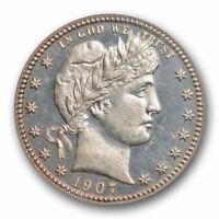 1907 25C Barber Quarter PCGS PR 62 CAM Proof Cameo Low Mintage Beautiful !
