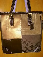 COACH GOLD BROWN BRONZE LEATHE SIGNATURE PATCH WORK EAST WEST GALLERY TOTE BAG