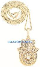 Hamsa Necklace Pendant with Crystal Rhinestones 24 Inch Box Style Chain Health