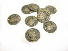 50pc 10mm antique bronze finish brass made coin pendants/charms-7951G