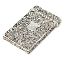 Antique Indian Goan Silver Filigree Wire Formed Calling Card Case c1860