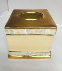 Julia Knight Classic 5 Inch Tissue Cover Gold Snow Cream Mother of Pearl