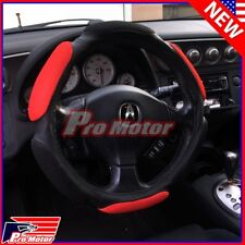 Hand Pad Buffer Cushion Red Black Slip-On Steering Wheel Cover Protector Leather