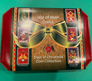 """ISLE OF MAN EMPTY POBJOY MINT BOX """"DAYS OF CHRISTMAS"""" COVER 6 CROWN SIZE SLOTS"""