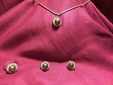 Sterling Silver Cz And Pearl Ring Marked 925, necklace and earring set.