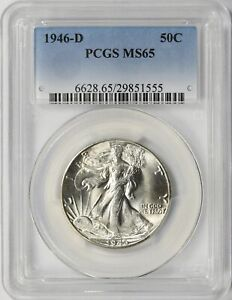 1946-D Walking Liberty Silver Half Dollar 50c PCGS MS65