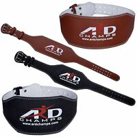 """ARD CHAMPS™ Weight Lifting 6"""" Leather Belt Back Support Strap Gym Power Training"""