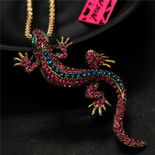 Betsey Johnson Blue&Red Rhinestone Lizard Gecko Pendant Sweater Chain Necklace