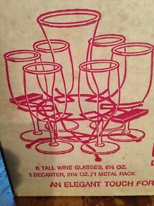 Libbey Set Of 6 80837 Embassy 6.5 oz Wine Glasses With tray and Carafe - NEW NOS