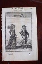✒ 1683 MANESSON MALLET portrait de deux italiens ITALIE couple costume d'époque