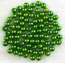 50Pcs 10mm Green Acrylic Round Pearl Spacer Loose Beads Free Ship