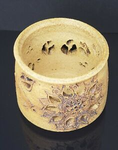 Vintage Sunflower Candle Holder Golden Brown Aztec Stoneware Southwestern Signed