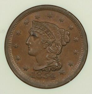 1854-P 1854 Braided Hair Large Cent 1C NGC MS65 BN Old Holder