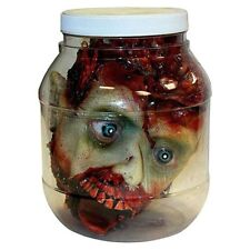 Severed Human Head in Lab Jar Zombie Scary Gory Halloween Party Decor Prop