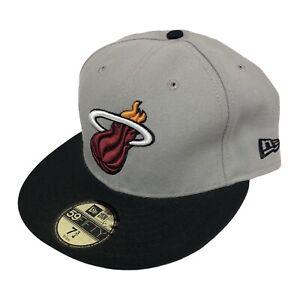 Miami Heat NBA 2-Tone New Era 59FIFTY Fitted Cap NWT (Gray/Black) Size 7 3/4
