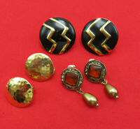 3 Pair Vintage Monet Earrings Black Gold Clip Amber Crystal Pierced Signed 754k