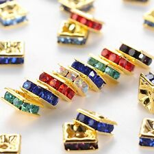 100PCS Brass Rhinestone Spacer Beads Golden Metal Mixed Color 6x6x3mm Hole 1mm