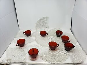 Set of 8 + 4 xtra Vintage Fenton Daisy Button Dot Fan Snack Plates Ruby Red Cups
