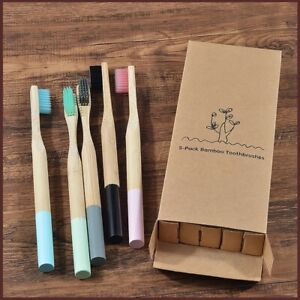 5 pack Bamboo Colorful Eco Friendly Oral Care Toothbrush for Adult Free Shipping