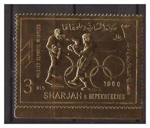 s14611) SHARJAH 1968 MNH** Olympic Games Mexico Gold Foil 1v