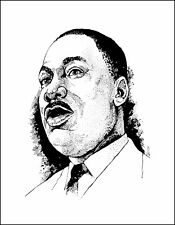 METAL REFRIGERATOR MAGNET African American Black Martin Luther King Art Sketch