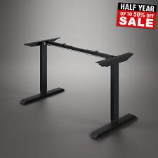 More details for electric sit stand desk height adjustable office workstation frame black