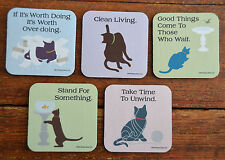 "Lot of 5 4x4"" BLACK CAT Pet Philosophy Drink Bar COASTERS Fun Humor Dog is Good"