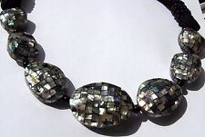 "21"" Inch Abalone & Black Onyx Mosaic Chunky Statement Fashion Necklace"