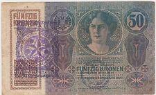 50 KRONEN 1914 CITTA DI FIUME Consiglio Nazionale AUSTRIA CROATI FIUME BANKNOTE