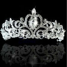 Princess Austrian Bridal Stunning Crystal Wedding Hair Tiara Crown Veil Headband