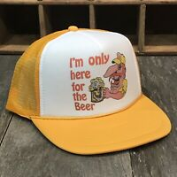 I'm Only Here For The Beer Trucker Hat Vintage 80's Funny Snapback Cap! Yellow