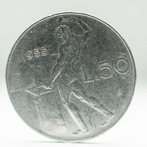 Italy 50 Lire Coin L50 Collectible 1955