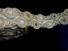 1 meter gold diamante lace trim mirrors beads stone ribbon sewing border edge