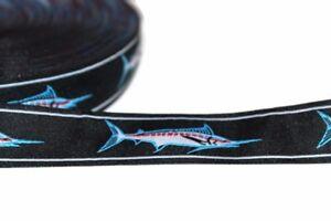 "Marlin RibbonBlack fish Ribbon Fish Jacquard Ribbon 1"" wide x 5 yards"