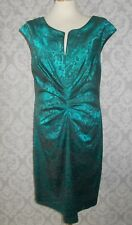 TEAL & BLACK LACE LOOK DRESS BY CONNECTED APPAREL - SIZE 12
