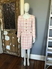 Vintage 90s LISA HO SKIRT SUIT Pink Check Amazing Cond  Vtg14(fits 10-12)