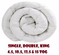 Duvet Quilt 4.5, 10.5, 13.5, 15 Tog Single Double King Bed Corovin Warm Winter