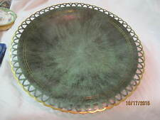 Israel Pal bell metalware footed dish brass w/ verdigris finish open lace rim