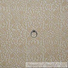 BonEful FABRIC FQ Cotton Quilt Brown Tan White Antique Lace Flower Damask Print