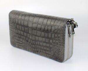 Genuine Alligator Crocodile Skin Leather Men's 2 Zipper Wallets Purse Gray