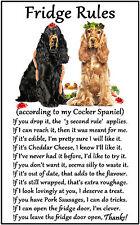 """Cocker Spaniel Dog Gift - Large Fridge Rules flexible Magnet 6"""" x 4"""""""