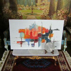 Vtg Dollhouse ARTISAN ABSTRACT PAINTING Miniature Artist Signed MidCentury Style