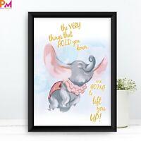 Dumbo Elephant Nursery Wall Art Decor Quotes picture Keepsake Gift Print frame
