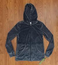 NWT Women's GREEN TEA Twilight Blue Velour Full Zip Hooded Jacket Size S Small